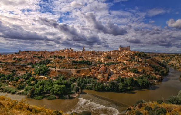Picture river, building, panorama, Spain, Toledo
