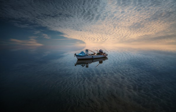 Picture sea, the sky, boat