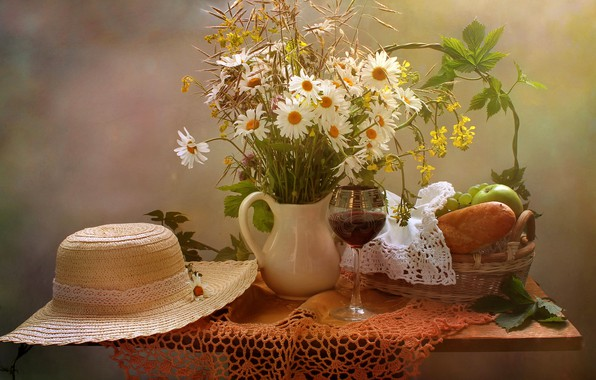 Picture flowers, table, wine, basket, apples, glass, chamomile, bread, grapes, vase, fruit, still life, tablecloth, napkin, …