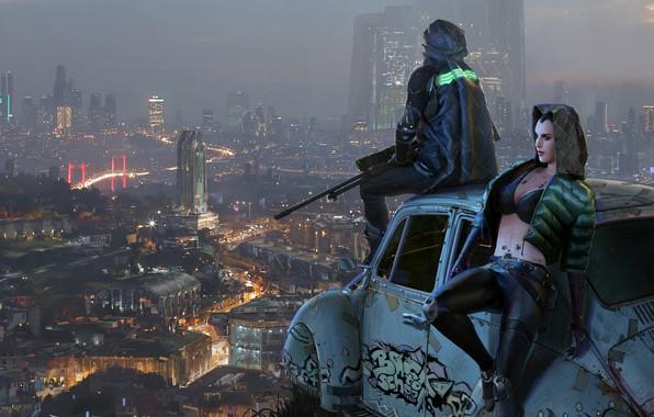 Picture the city, fiction, view, art, cyberpunk