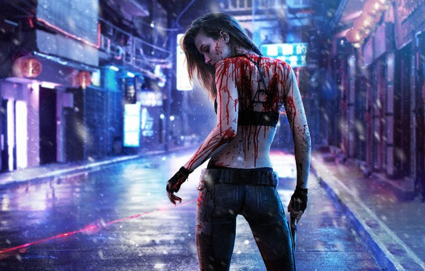 Picture Girl, Dark, Blood, Cyberpunk, 2077
