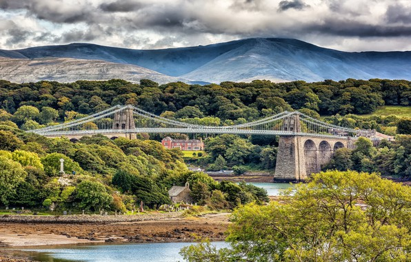 Picture landscape, mountains, bridge