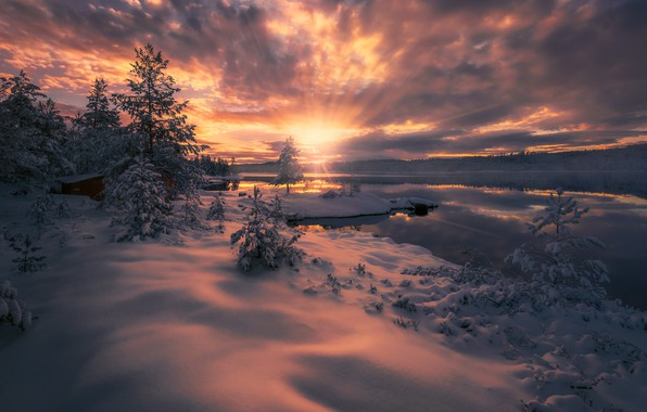 Picture winter, clouds, rays, snow, sunset, lake, Norway, Norway, Ringerike, Ole Henrik Skjelstad