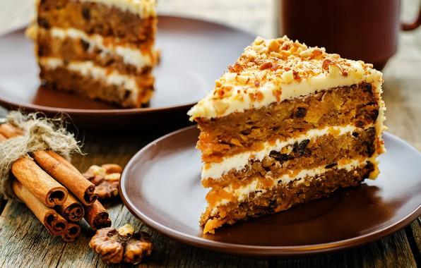 Picture cake, nuts, cinnamon, cream, dessert, a piece of cake