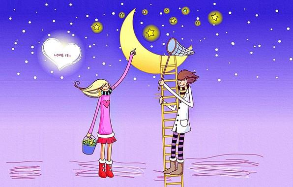 Picture stars, snow, love, mood, the moon, romance, figure, the evening, boy, art, girl, canvas, Valentine's …