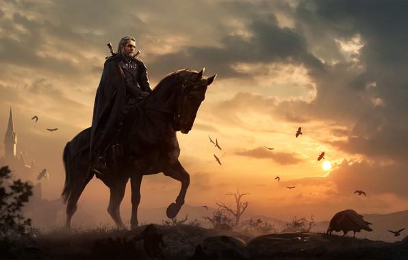 Picture horse, art, geralt, Gwynbleidd, The Witcher 3 Wild Hunt, Geralt of Rivia, white wolf, roach