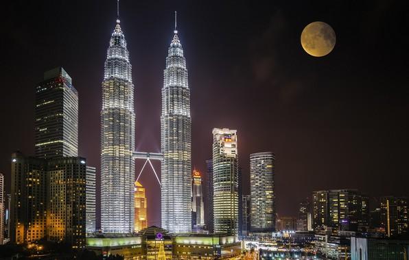 Picture night, the city, the moon, Malaysia, Kuala Lumpur