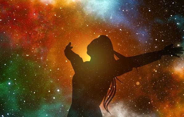 Picture stars, joy, silhouette, stars, fantasy art, joy, silhouette, knowledge, knowledge, fantasy art, миллиарды звезд, необъятный …