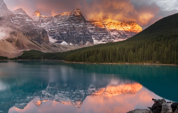 Picture clouds, landscape, mountains, clouds, nature, lake, reflection, rocks, morning, Canada, Albert, Alberta, forest, national Park, …