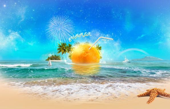 Picture sea, beach, the sun, orange, digital, sea, art, orange