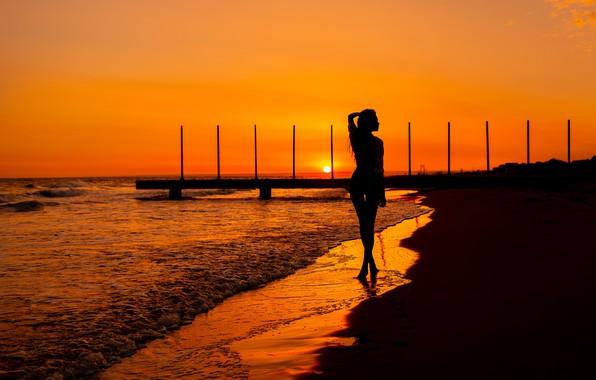 Picture girl, sunset, silhouette, surf, legs, Vitaly Skitaev