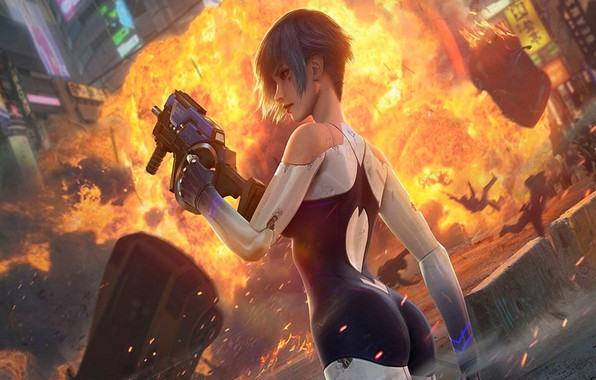 Picture girl, machine, the city, style, weapons, people, fiction, fire, Games, Cyberpunk, Cyber hunter