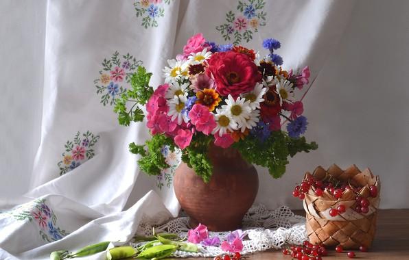 Picture summer, bouquet, Daisy, peas, pitcher, currants, cornflowers, Phlox, zinnia