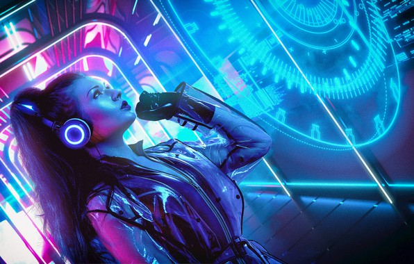 Picture Girl, Music, Neon, Background, Neon, Cyber, Cyberpunk, Synth, Retrowave, Synthwave, New Retro Wave, Futuresynth, Sintav, …