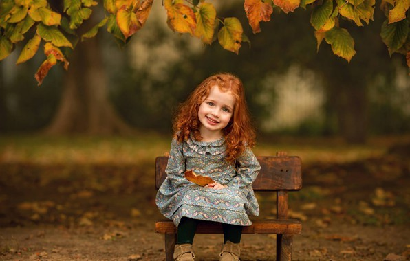 Picture autumn, look, leaves, branches, smile, mood, girl, red, curls, redhead, baby, the bench