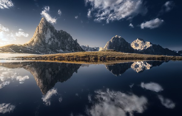 Photo wallpaper the sky, mountains, shore