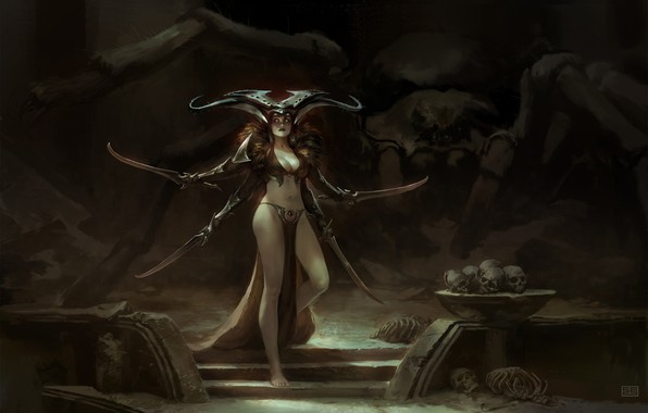 Picture Girl, Spider, Cave, Hands, Fantasy, Swords, Art, Fiction, Illustration, Characters, Myth, Simon Eckert, Spiders Lair, ...