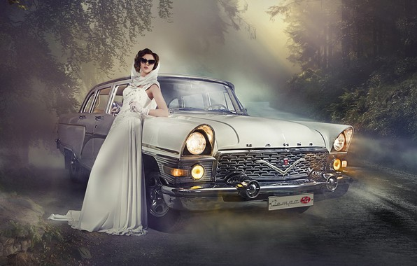Picture road, auto, girl, pose, Seagull, dress, glasses