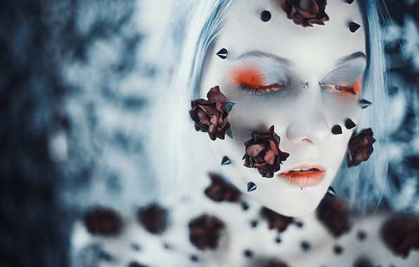 Picture girl, flowers, face, style, mood, makeup, blur, spikes, Asya Molochkova
