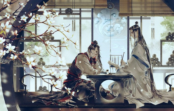 Picture friends, long hair, blinds, suspension, scrolls, two guys, at the table, flowering branch, Mo Dao …