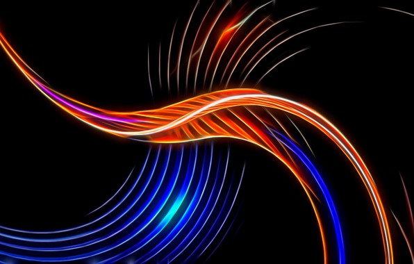 Picture abstraction, rendering, Wallpaper, black background, picture, the play of light, screensaver on your desktop, luminous …
