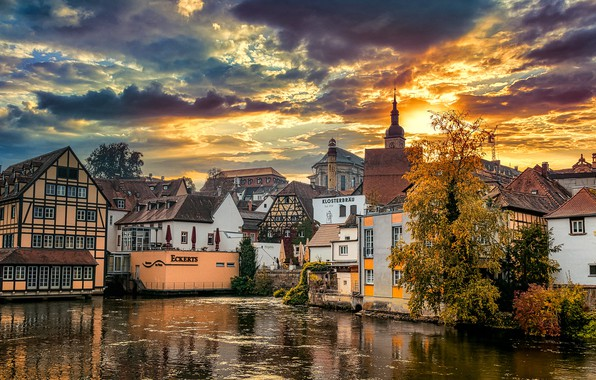 Picture water, clouds, sunset, the city, building, home, Germany, Bayern, architecture, Bamberg