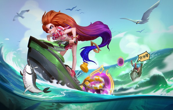 Picture sea, summer, the situation, anime, art, walk, Zoe, DSL ART
