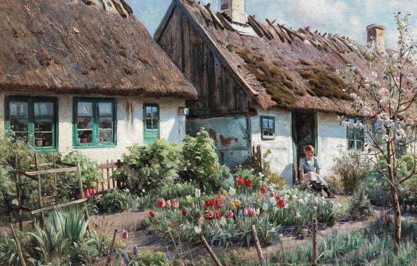 Picture 1923, Danish painter, Peter Merk Of Menstad, Peder Mørk Mønsted, Danish realist painter, oil on …