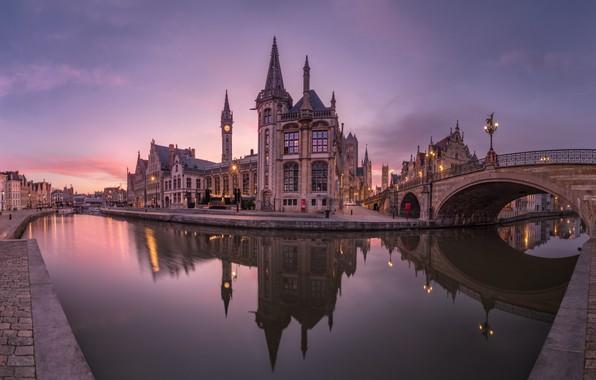 Picture bridge, reflection, river, building, home, Belgium, architecture, promenade, Belgium, Ghent, Ghent, The River Leie, Leie …