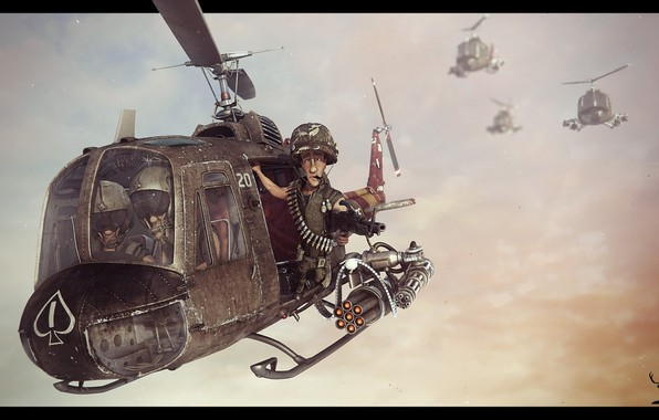 Picture weapons, flight, helicopter, the trick, American, art, Bell, US Army, Vietnam war, UH-1 Huey, gunner