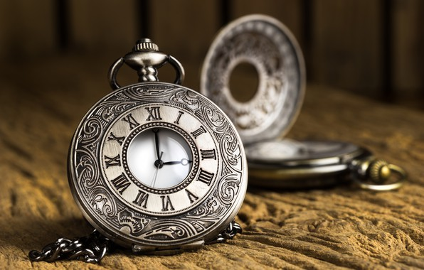Picture the dark background, watch, chain, pocket watch, stone surface, carved case, Roman dial