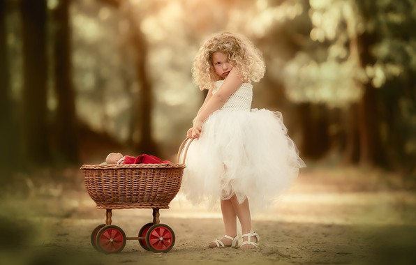 Picture doll, girl, stroller