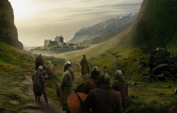 Picture Castle, People, Knights, War, Concept Art, Outlander, The middle ages, Matte Painting, Takeshi Yoshida, by …