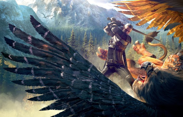 Picture mountains, bird, Forest, Griffin, The Witcher, Geralt, CD Projekt RED, The Witcher 3: Wild Hunt, …