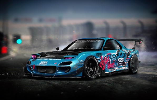 Picture Auto, Blue, Machine, Drift, Mazda, Illustration, Mazda rx7, Mazda RX-7, RX7, Vinyls, Transport & Vehicles, …