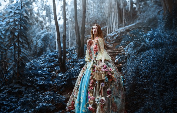 Picture forest, girl, flowers, basket, Ronny Garcia, The last flowers of the season