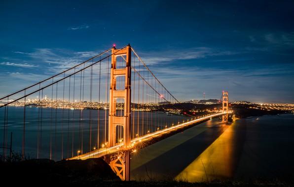 Picture the sky, water, light, night, bridge, the ocean, stars, the evening, Golden Gate, Golden Gate …