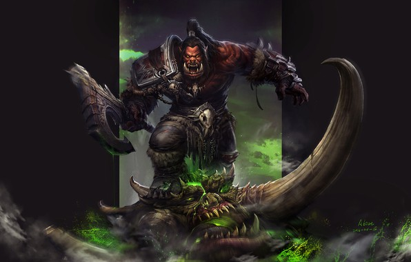 Picture the game, fantasy, art, Warcraft, Orc, warcraft, wow, Grom Hellscream, the Warsong, Exercise, The Art …