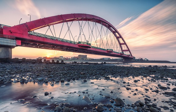 Picture Rainbow Bridge, Zhuwei, Fishing Port