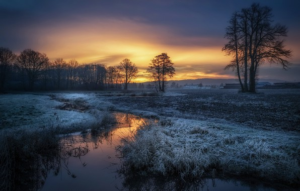 Picture winter, sunset, river