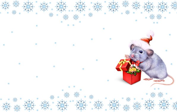 Picture holiday, gift, mouse, art, New year, symbol, rat, snowflake, children's, nastroenie