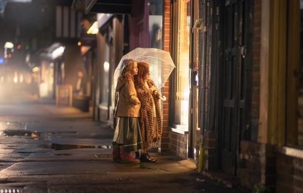 Picture night, the city, girls, umbrella