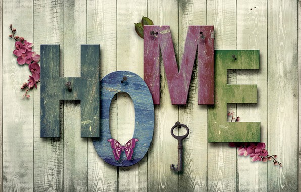 Picture house, the inscription, butterfly, texture, Tree, Key, Background, nail, different