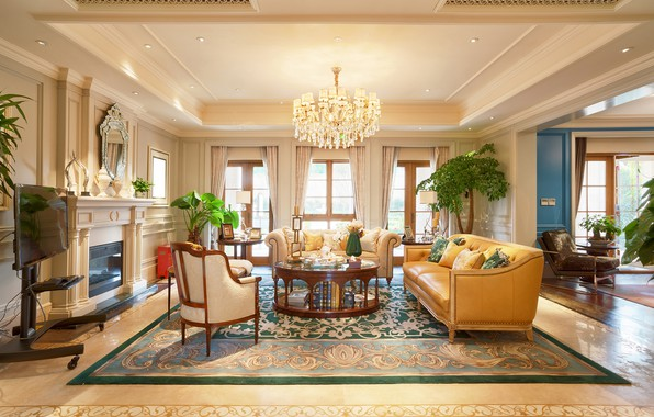Picture flowers, design, interior, chair, chandelier, fireplace, table, sofas, living room