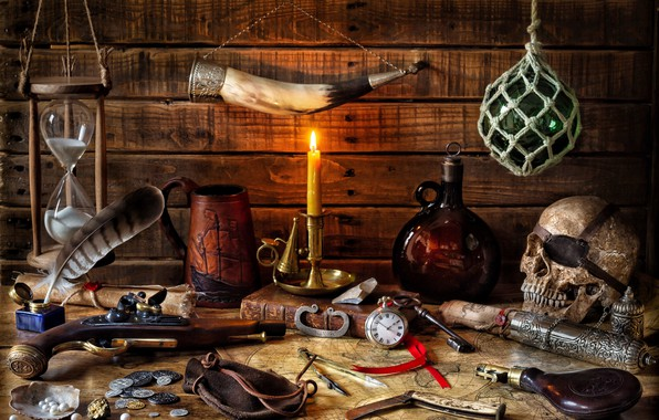 Picture letter, style, weapons, pen, watch, skull, bottle, map, candle, key, mug, book, coins, still life, …