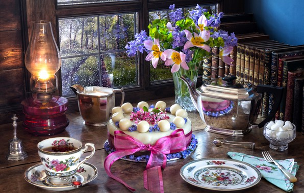 Picture flowers, style, tea, books, lamp, bouquet, kettle, window, plate, Easter, mug, tape, Cup, tulips, cake, …