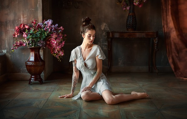 Photo wallpaper pose, Girl, dress, tattoo, Alla, Anastasia Barmina