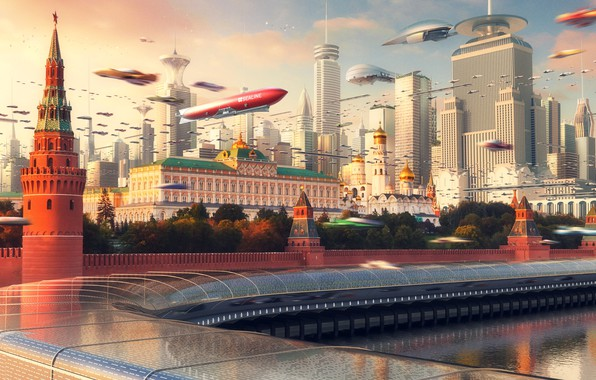 Picture The city, Future, Skyscrapers, Moscow, City, The Kremlin, Russia, Art, Russia, Fiction, Moscow City, Evgeny …