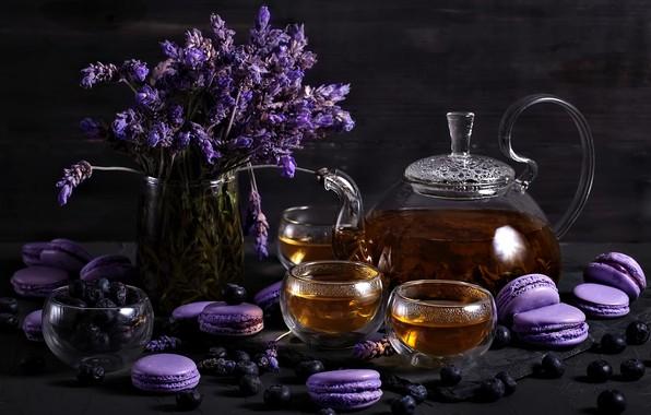 Picture flowers, tea, drink, macaroon