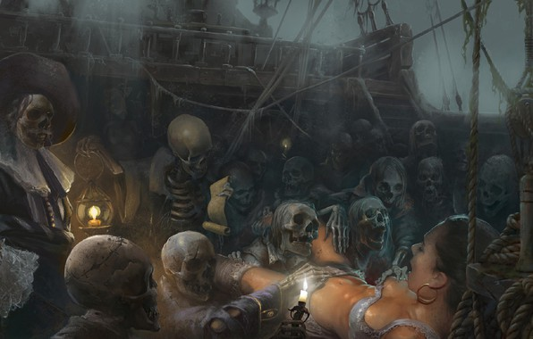 Picture fear, the victim, candles, bones, pirates, skeletons, Black Sun, The Flying Dutchman, The Flying Dutchman, …